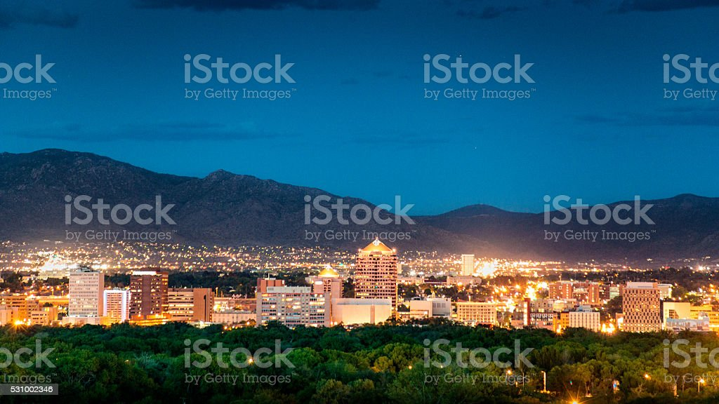 Albuquerque Skyline at Dusk stock photo