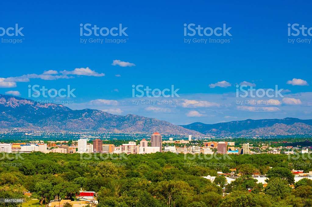 Albuquerque Skyline with Mountains, wide angle stock photo