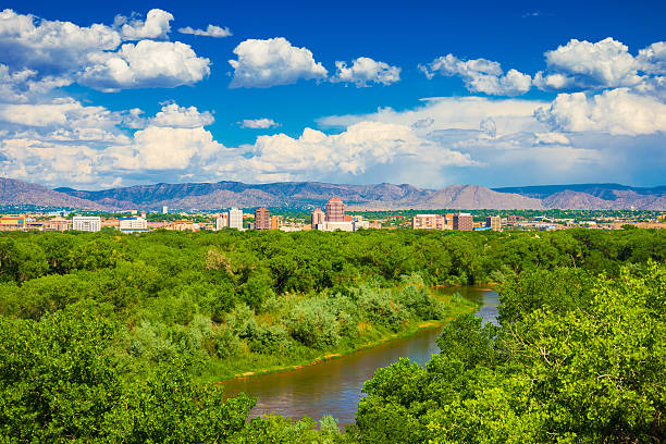 Albuquerque Skyline with River and Mountains stock photo