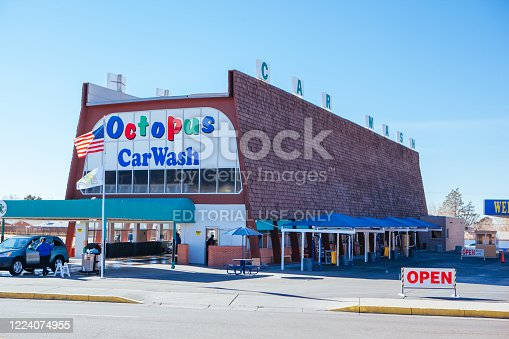 Alburqueque, USA - January 31 2013: Octopus Car Wash, made famous by the popular TV show Breaking Bad on a sunny winter's day.