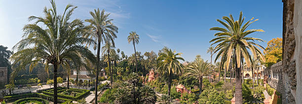 Alcázar palace Seville Spain Panoramic view across the palm trees and terraces, pavilions and fountains of the peaceful gardens of the Real Alc alcazar palace stock pictures, royalty-free photos & images