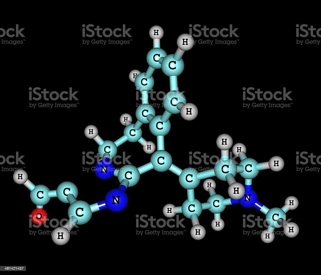 Alcaftadine molecular structure isolated on black stock photo