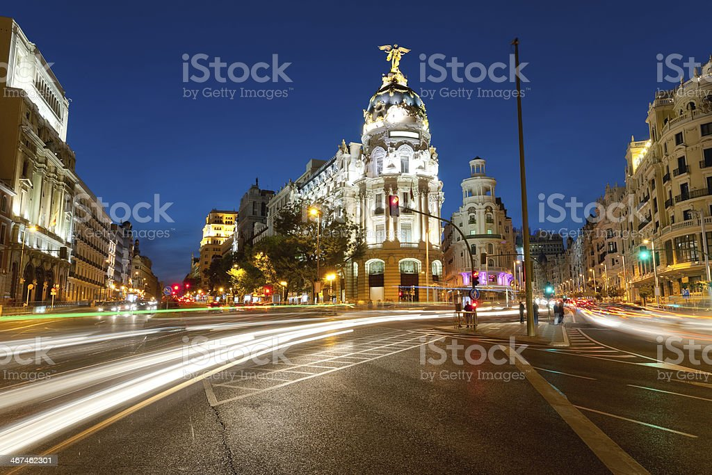 Alcala street in Madrid by night stock photo