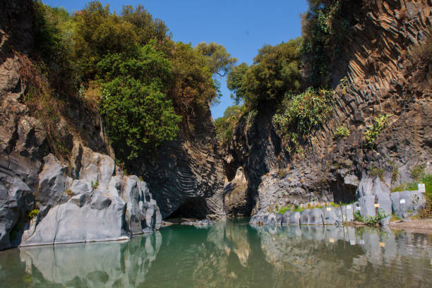 Alcantara Gorge Alcantara Gorge and Alcantara river park in Sicily Island, Italy ravine stock pictures, royalty-free photos & images
