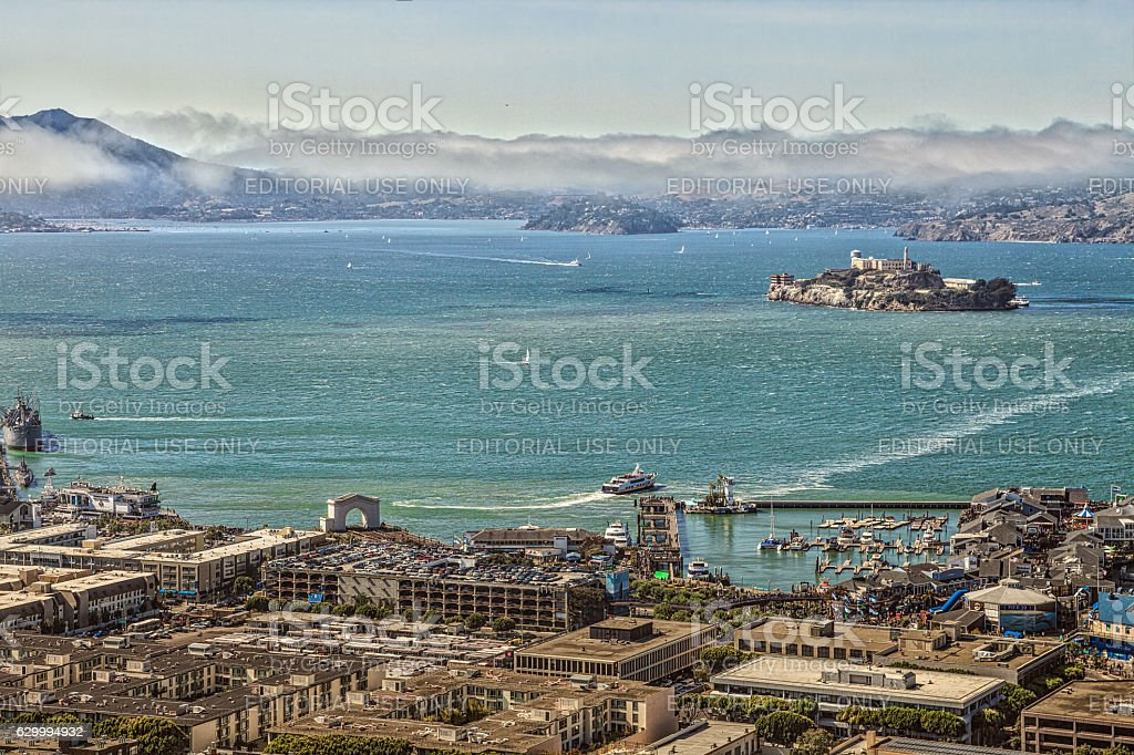 Alcatraz aerial view stock photo
