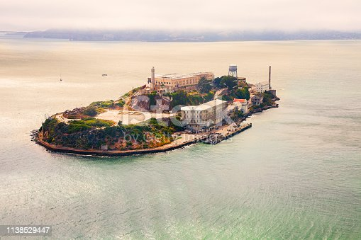 View of Alcatraz Island from above with copy space