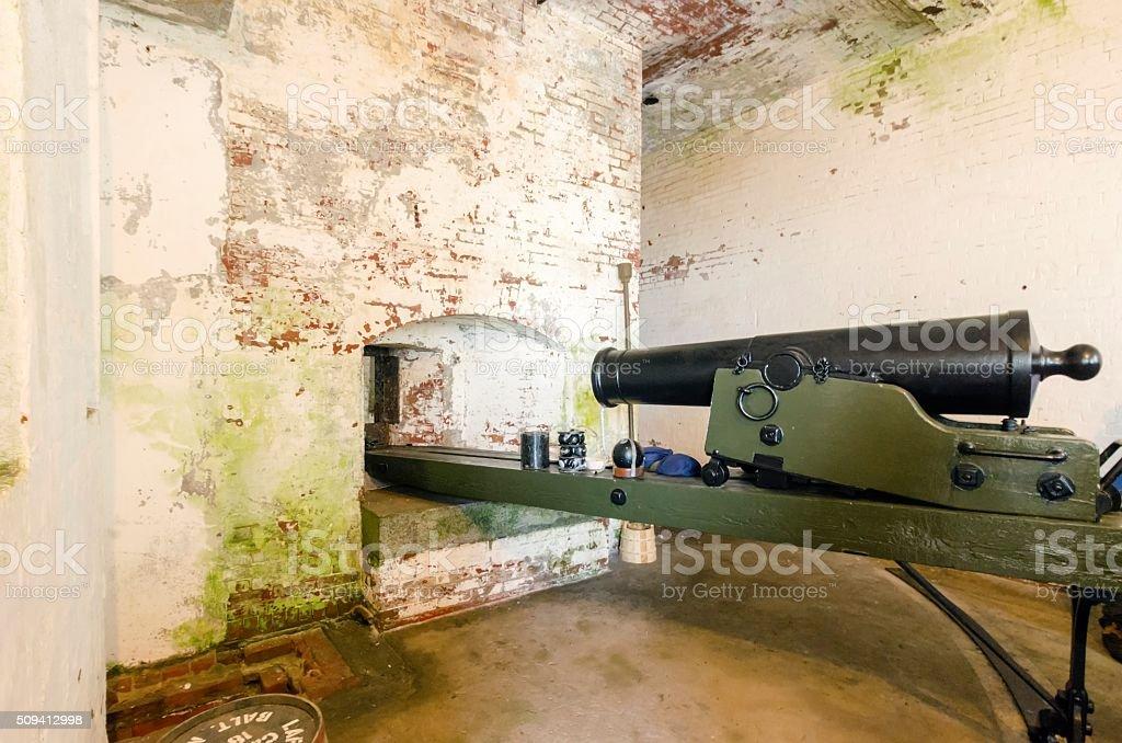 Alcatraz cannon, San Francisco, California stock photo