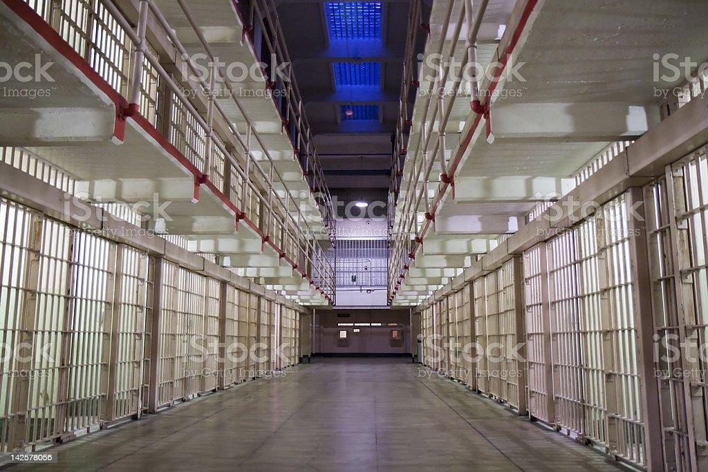 Alcatraz cells at night stock photo