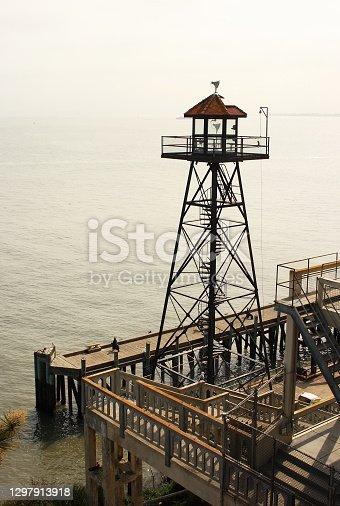 The old Guard Tower on Alcatraz Penitentiary island, San Francisco, California, USA