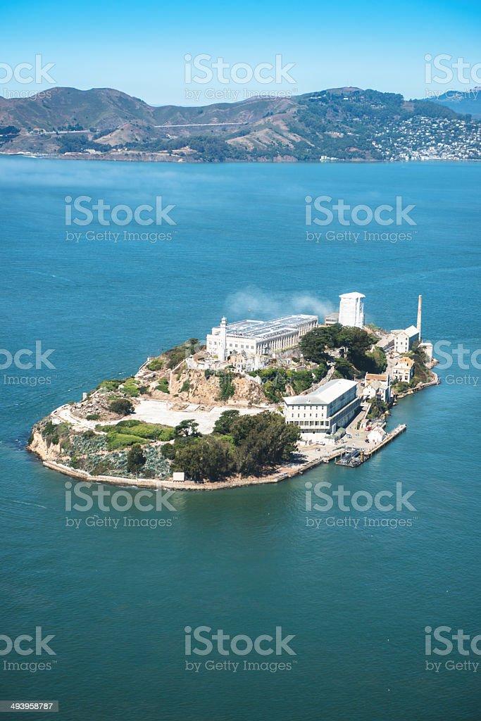 Alcatraz island aerial view stock photo