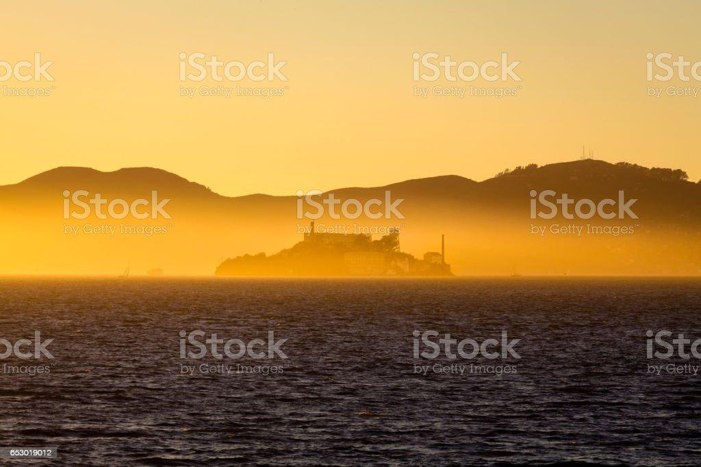 Alcatraz Island at sunset, San Francisco, California, USA stock photo