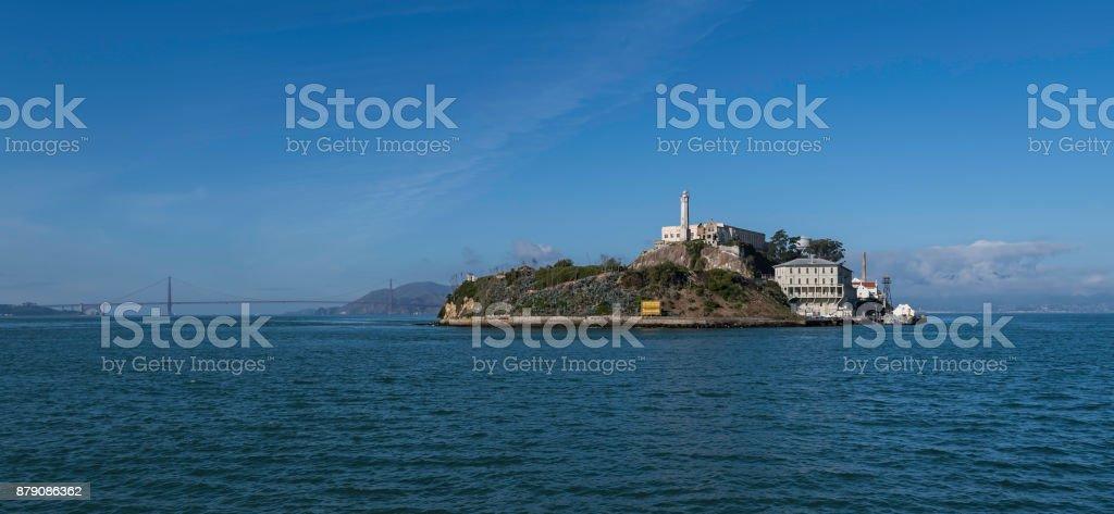 Alcatraz Island in blue sky stock photo