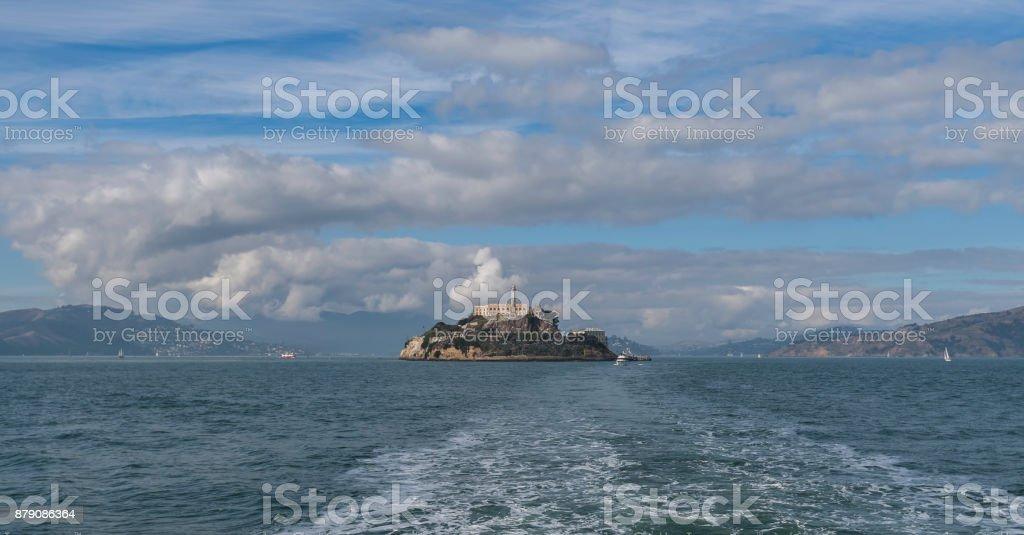 Alcatraz island in cloudy day stock photo
