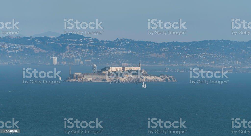 Alcatraz Island in little fog stock photo