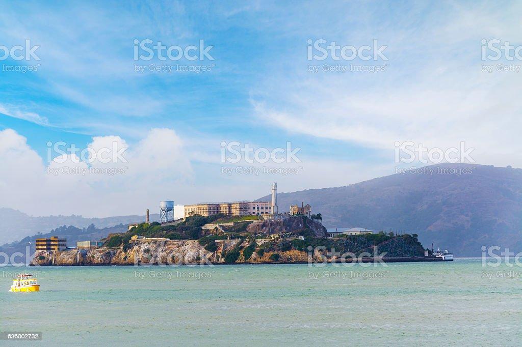Alcatraz island in San Francisco bay stock photo