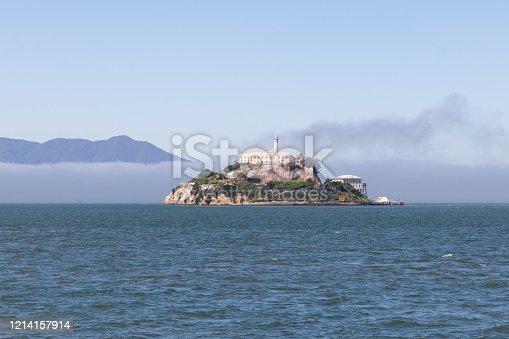 San Francisco, USA - March 2020 - View of Alcatraz Island in San Francisco, California, on a foggy day. Feredal prison.