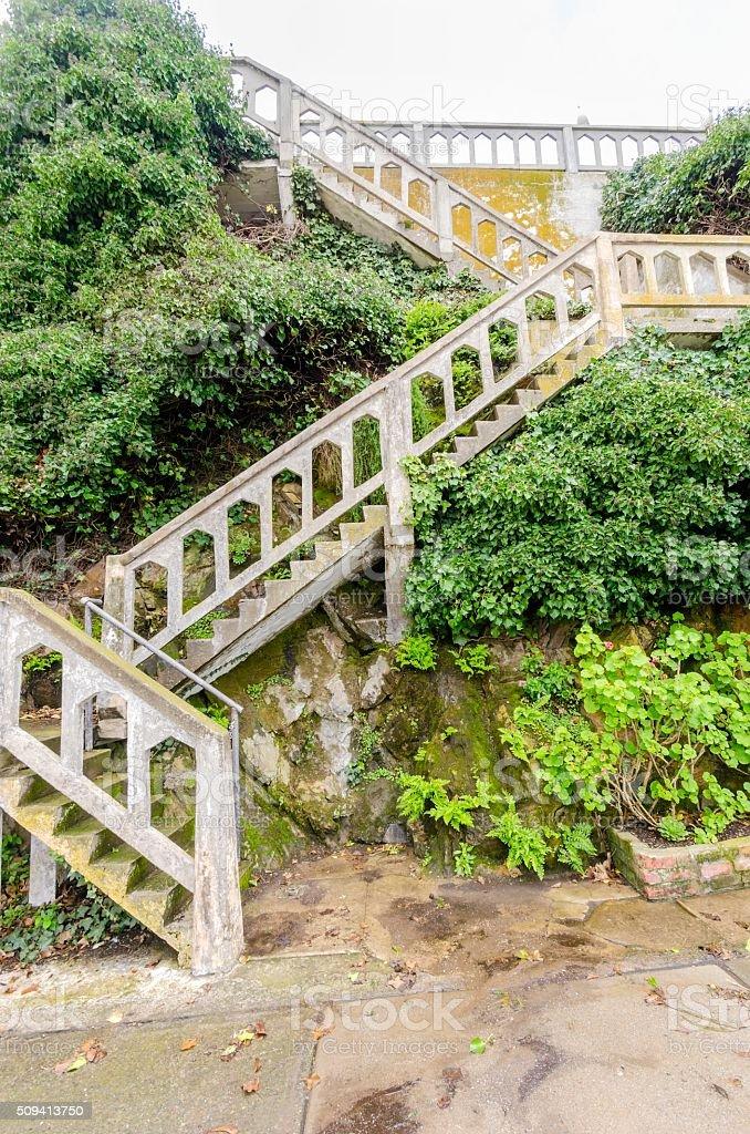 Alcatraz island staircase, San Francisco, California stock photo