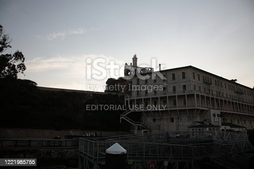 Alcatraz Island under sunset in San Francisco, USA