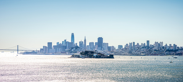 panoramic view of Alcatraz Island in front of the skyline of San Francisco, California, USA.