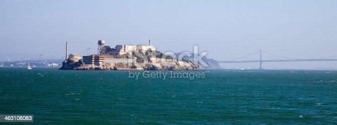 Alcatraz jail in San Francisco bay and Bay Bridge