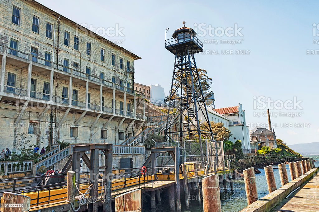 Alcatraz National Park Dockside Views And Gun Tower With Visitors