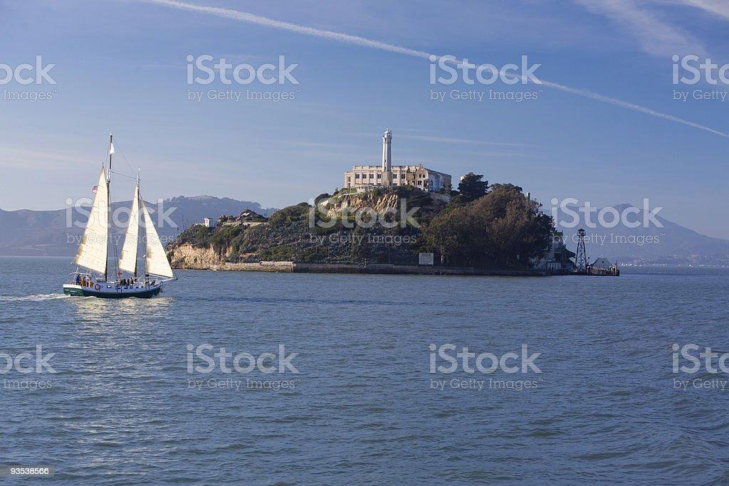Alcatraz with sailboat stock photo