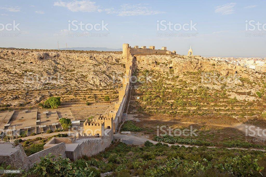 Alcazaba, ancient muslim fortress in Almeria stock photo