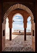 A view through an ornate window in the Alcazaba moorish fortress, Malaga