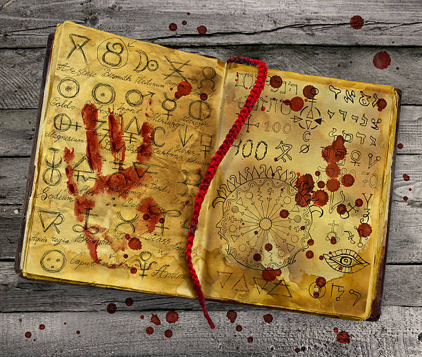 alchemic book with bloody hand print on the pages - alchemie symbole stock-fotos und bilder
