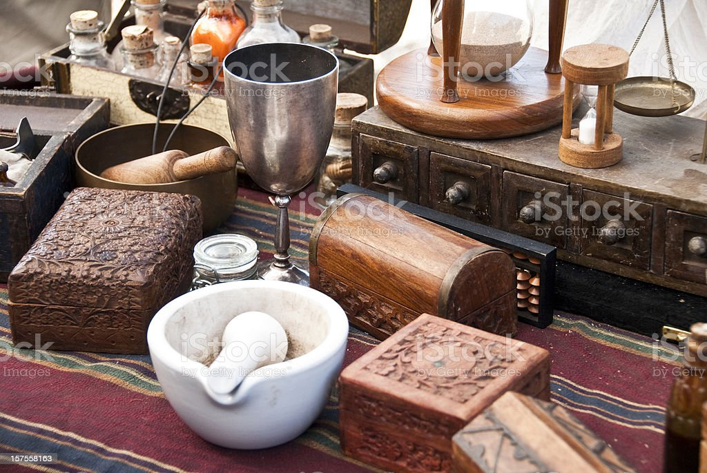 Alchemist desk stock photo