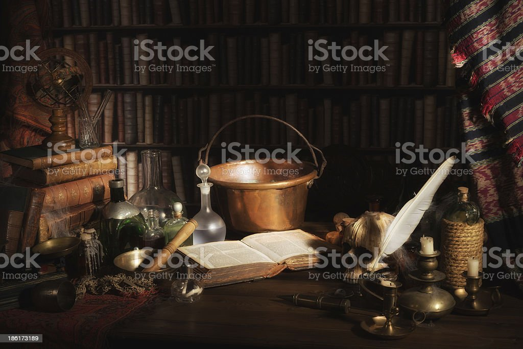 Alchemist kitchen or laboratory stock photo