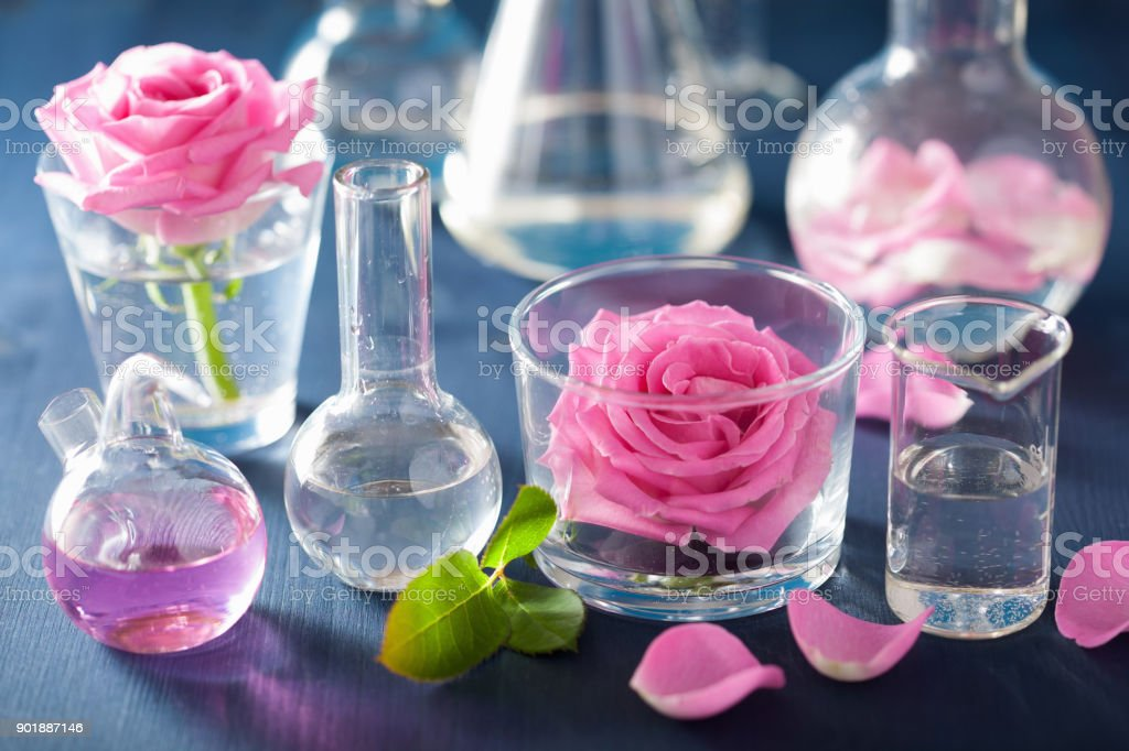 alchemy and aromatherapy set with rose flowers and chemical flasks stock photo