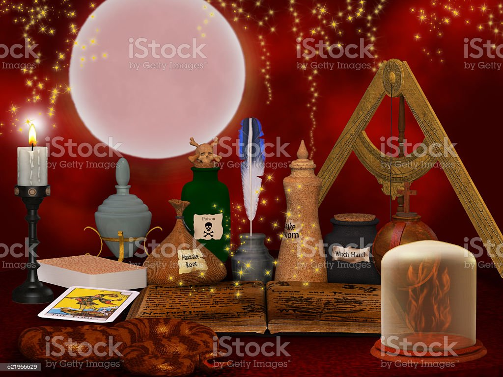 alchemy still life background stock photo