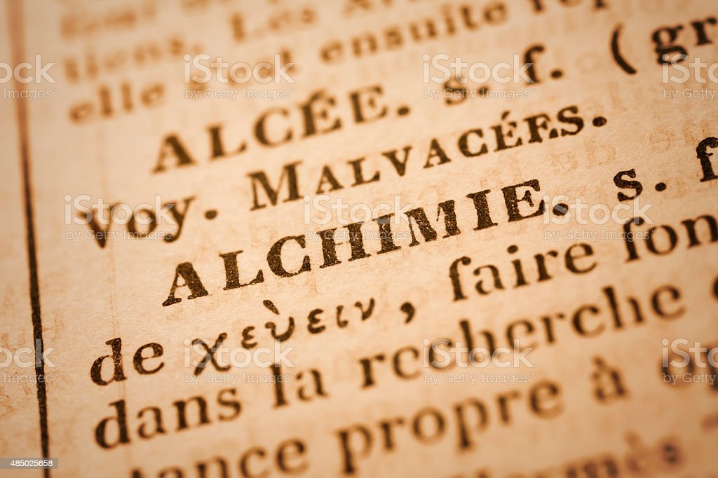 Alchimie: French Dictionary Close-up stock photo