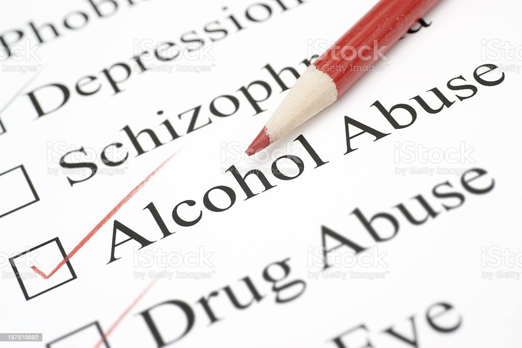 alcohol abuse on check list stock photo