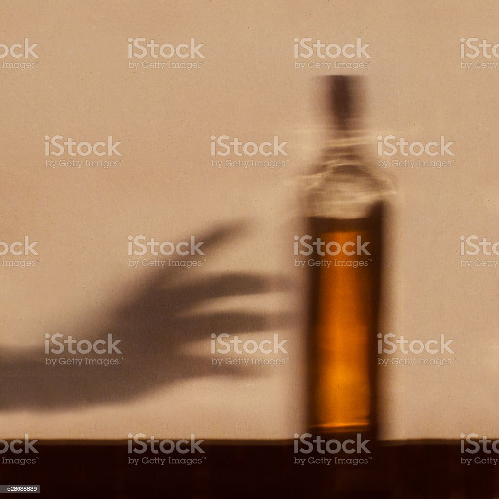 Alcohol addiction concept stock photo