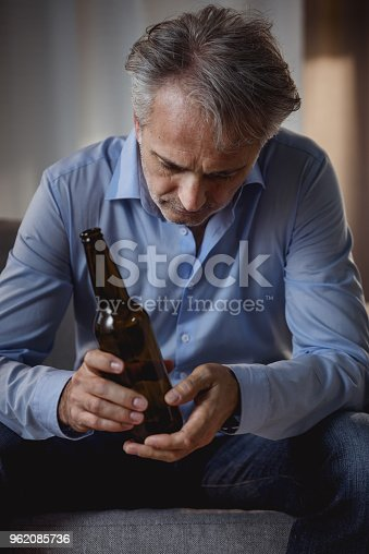 Man drinking beer. Alcohol addiction concept.