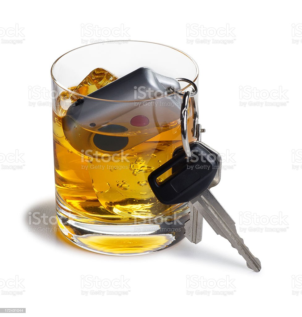 Alcohol and Car Keys Isolated on White stock photo