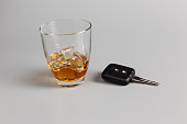 Glass of alcohol drink and car keys. Whiskey on the rocks. Don't drink and drive concepts photography.