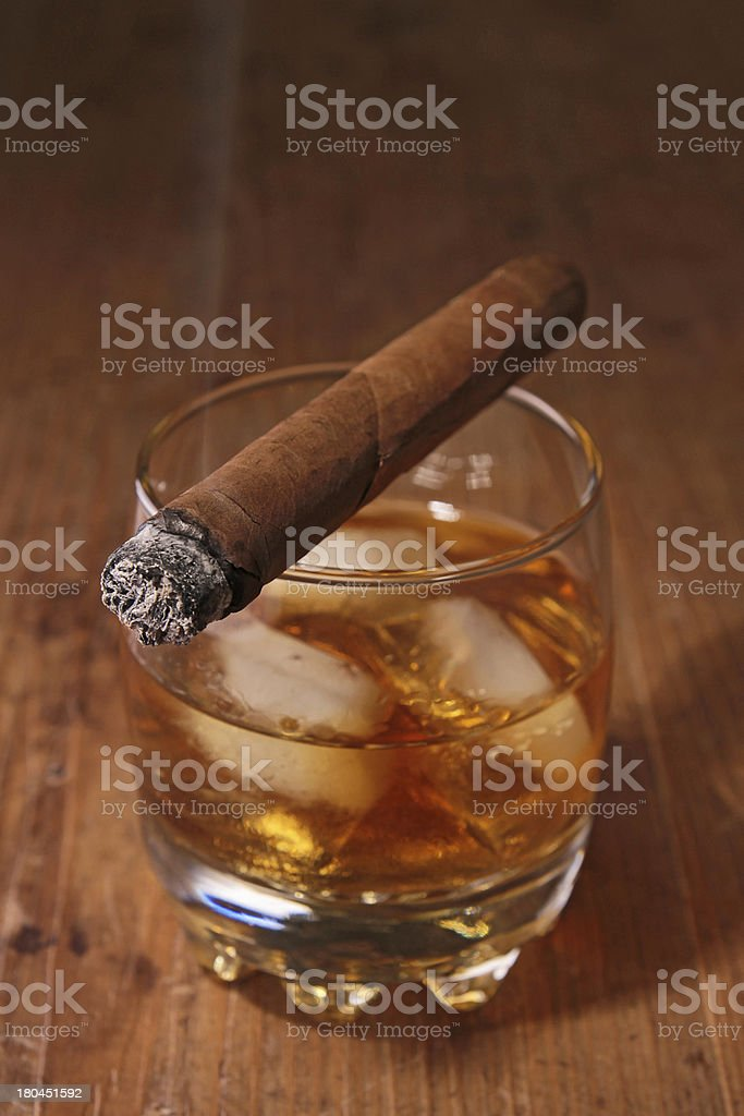 alcohol and cigar royalty-free stock photo