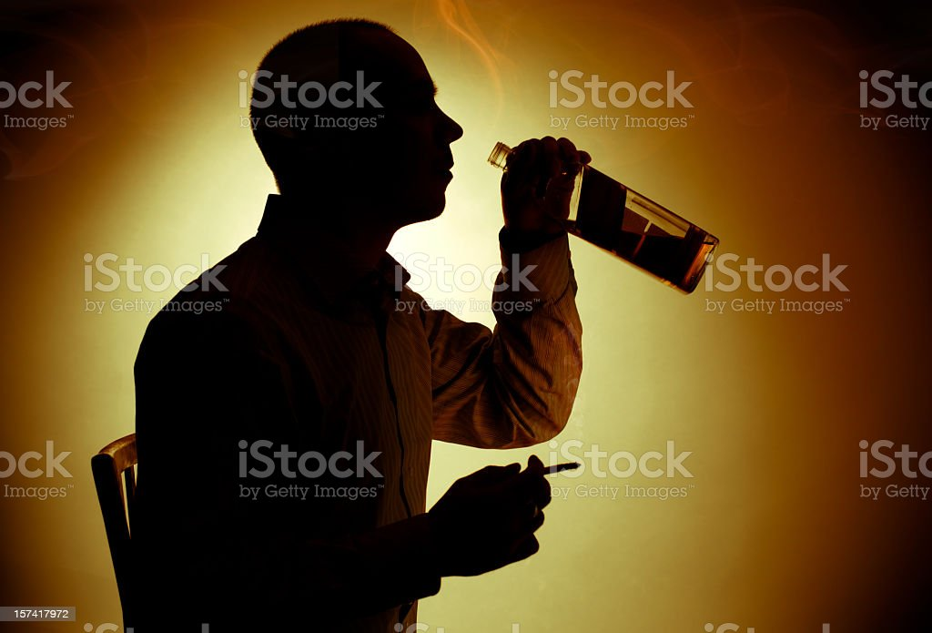 Alcohol and cigarette royalty-free stock photo