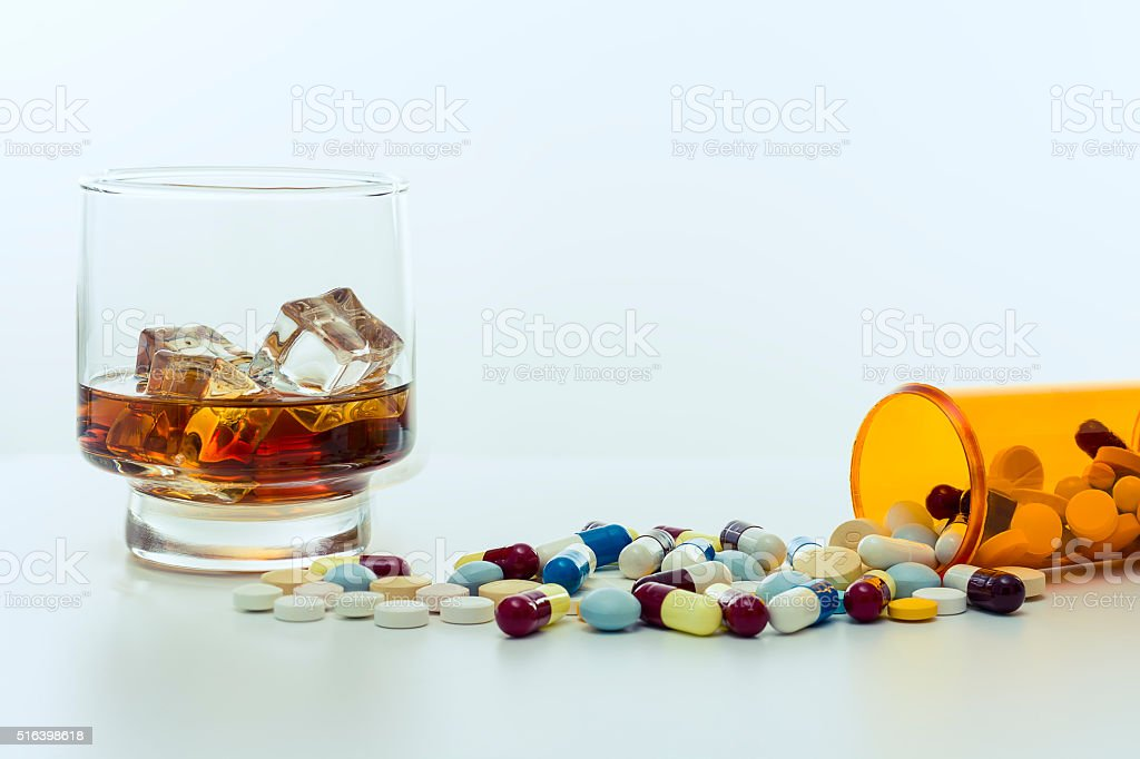Alcohol and drugs. stock photo