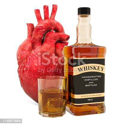 istock Alcohol and heart disease concept, human heart with alcohol drink. 3D rendering isolated on white background 1149573900