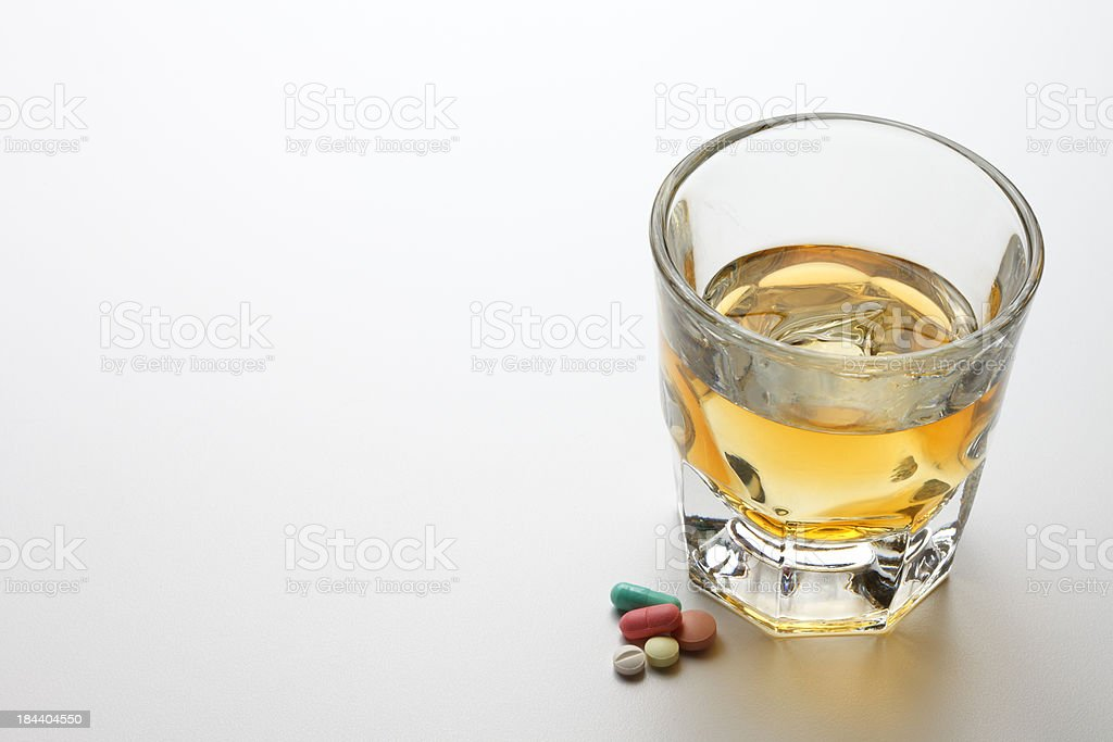 Alcohol and Prescription Medication royalty-free stock photo