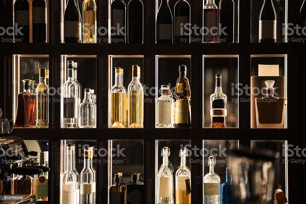 Alcohol Beverages Bar Shelf foto