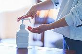 istock Alcohol bottle spray for anti virus 1211991290