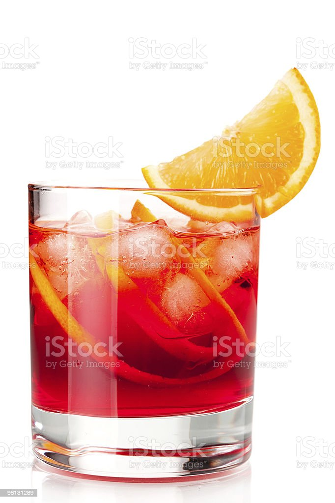 Alcohol cocktail collection - Negroni with orange slice royalty-free stock photo