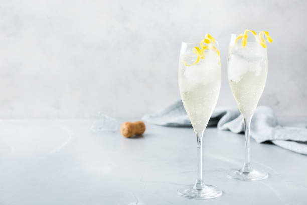 Alcohol drink champagne cocktail for summer days stock photo