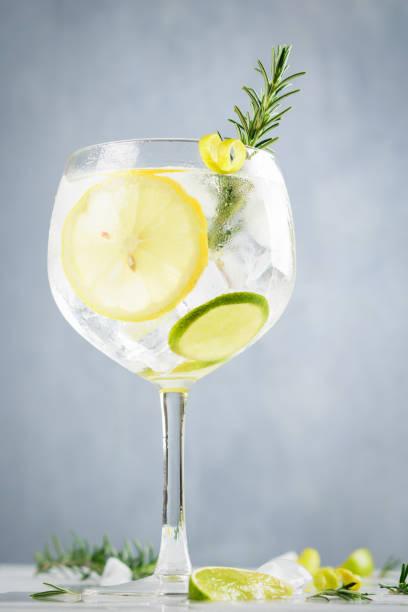 alcohol drinken, gin tonic cocktail, met citroen, limoen, rozemarijn en ijs op lichte achtergrond, kopieerruimte. iced drinken. - gin tonic stockfoto's en -beelden
