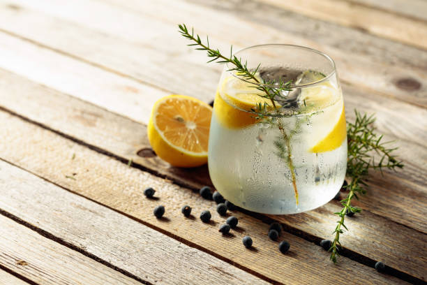 Alcohol drink (gin tonic cocktail) with lemon, juniper branch,  and ice on rustic wooden table. stock photo
